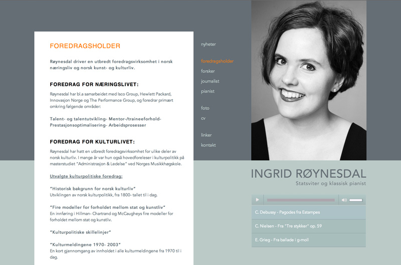 Webpage for Ingrid Roynesdal